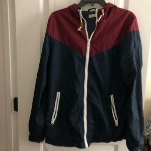 Red and Navy Blue Windbreaker With White Trim